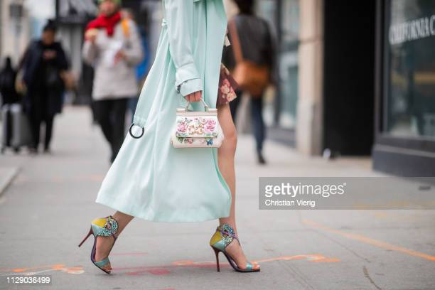 Jaime Xie is seen wearing Zimmermann dress bag Dolce and Gabbana mint coat and heels outside Zimmermann during New York Fashion Week Autumn Winter...