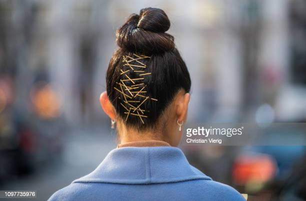 Jaime Xie is seen with hair details during Paris Fashion Week - Haute Couture Spring Summer 2019 on January 21, 2019 in Paris, France.