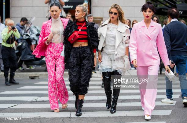 Jaime Xie seen wearing pink jacket and pants with floral print sheer top white mini Jacquemus bag outside the Blumarine show during Milan Fashion...