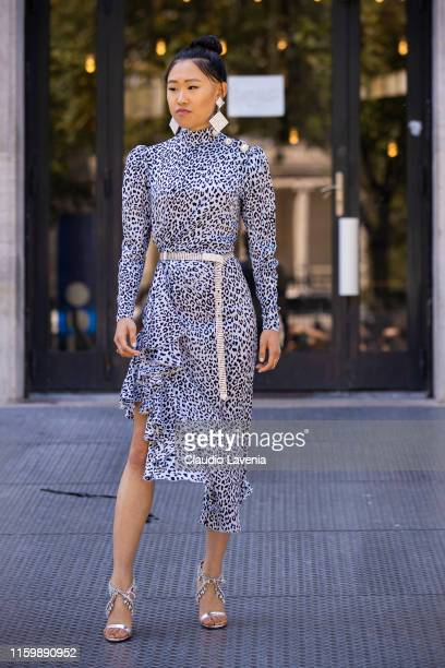 Jaime Xie wearing Alessandra Rich dress earrings and belt and Aquazzura shoes is seen outside Elie Saab show during Paris Fashion Week Haute Couture...