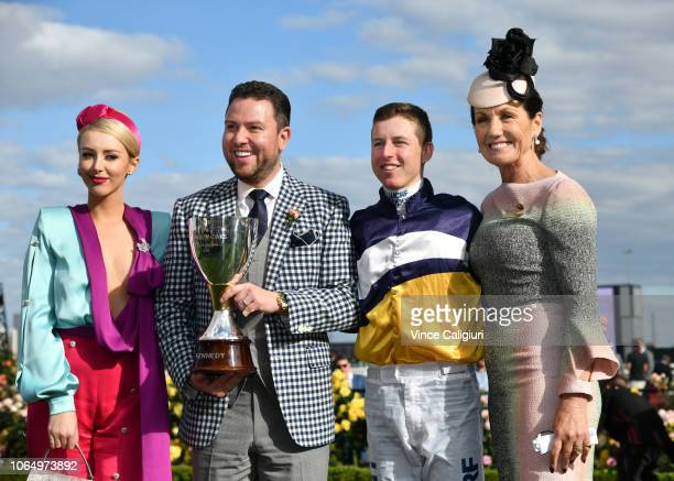 Jaimee Belle Kennedy James Kennedy Damian Lane and VRC Chairman Amanda Elliott pose with Kennedy Oaks trophy after Aristia won in Race 8 Kennedy Oaks...