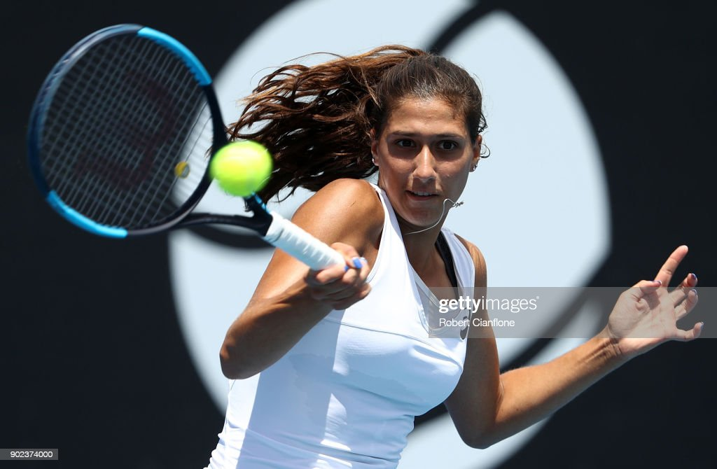 Jaimee Fourlis of Australia plays a forehand during her singles match against Nina Stojanovic of Serbia during 2018 Hobart International at Domain Tennis Centre on January 8, 2018 in Hobart, Australia.