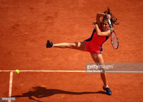 Jaimee Fourlis of Australia plays a forehand during the ladies singles first round match against Carolina Wozniacki of Denmark on day two of the 2017...