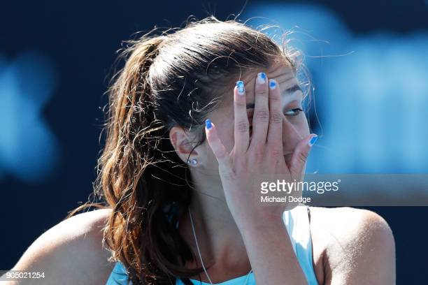 Jaimee Fourlis of Australia reacts in her first round match against Olivia Rogowska of Australia on day one of the 2018 Australian Open at Melbourne...