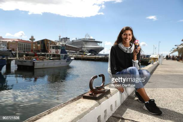 Jaimee Fourlis of Australia tries local ice cream on Constitution Dock prior to her next round match as part of the 2018 Hobart International at...