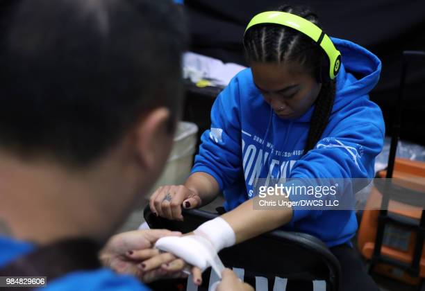 Jaimee Nievera has her hands wrapped prior to her women's flyweight bout against Antonina Shevchenko during Dana White's Tuesday Night Contender...