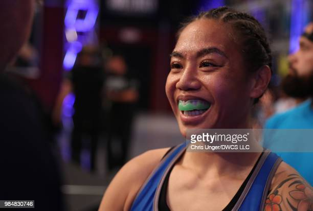 Jaimee Nievera prepares to fight Antonina Shevchenko in their women's flyweight bout during Dana White's Tuesday Night Contender Series at the TUF...