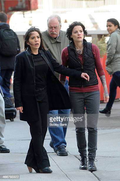 Jaimie Alexander and Audrey Esparza on the set of Blindspot on March 18 2015 in New York City