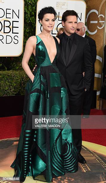 Jaimie Alexander and Peter Facinelli arrive at the 73nd annual Golden Globe Awards January 10 at the Beverly Hilton Hotel in Beverly Hills California...