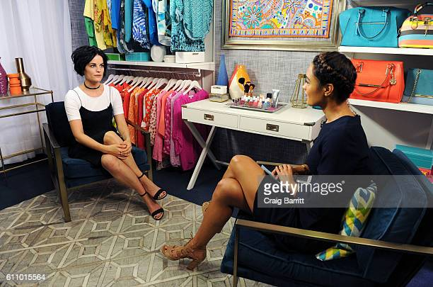 Jaimie Alexander and Rachel Smith film an episode of Amazon's live stream fashion and beauty show 'Style Code Live' on September 28 2016 in New York...