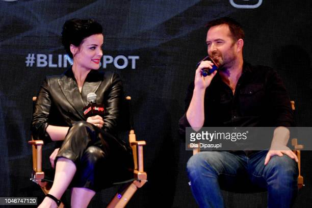 Jaimie Alexander and Sullivan Stapleton speak onstage at the WBTV Panel Block Blindspot panel during New York Comic Con at Jacob Javits Center on...