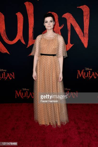 "Jaimie Alexander attends the premiere of Disney's ""Mulan"" at Dolby Theatre on March 09, 2020 in Hollywood, California."