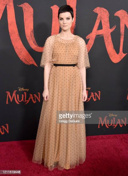 "Jaimie Alexander attends the Premiere Of Disney's ""Mulan"" on March 09, 2020 in Hollywood, California."