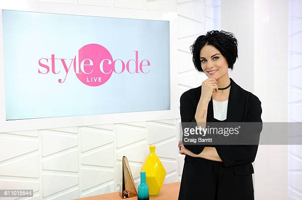 "Jaimie Alexander films an episode of Amazon's live stream fashion and beauty show, ""Style Code Live"" on September 28, 2016 in New York City. The..."