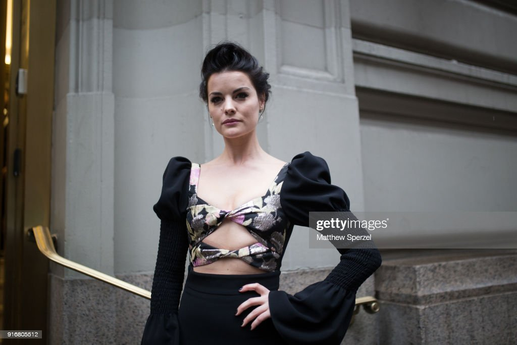 Jaimie Alexander is seen on the street attending Christian Siriano during New York Fashion Week wearing Christian Siriano on February 10, 2018 in New York City.