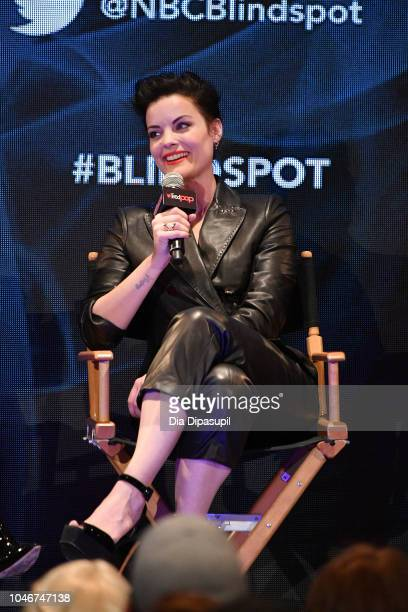 Jaimie Alexander speaks onstage at the WBTV Panel Block Blindspot panel during New York Comic Con at Jacob Javits Center on October 6 2018 in New...