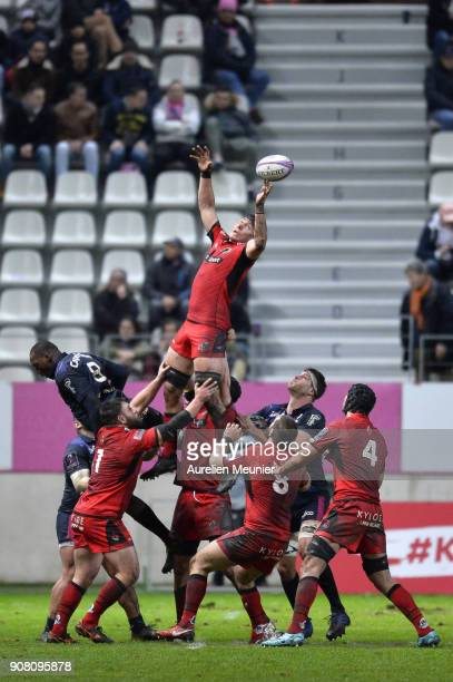 Jaimie Ritchie of Edinburgh jumps for the ball during the European Rugby Challenge Cup match between Stade Francais and Edinburgh at Stade JeanBouin...
