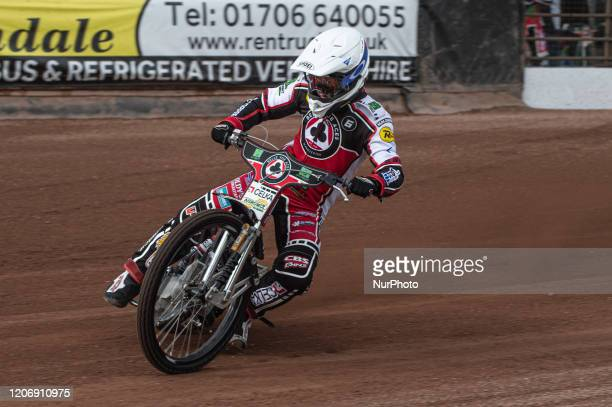 Jaimon Lidsey of Belle Vue Aces in action during The Belle Vue Speedway Media Day, at The National Speedway Stadium, Manchester, on Thursday 12 March...