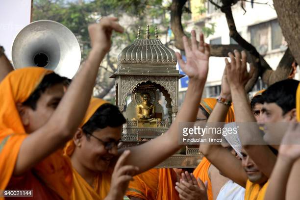 Jain community celebrates Mahavir Jayanti with procession from Jain Mandir to Gaondevi Mandir during the Mahavir Jayanti the birth anniversary of...