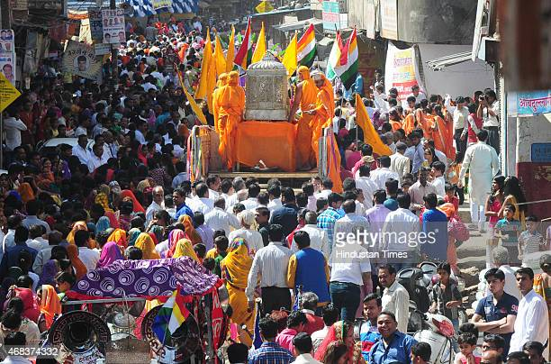 Jain community members taking part in a religious procession taken out to mark the Mahavir Jayanti on April 2 2015 in Bhopal India It celebrates the...