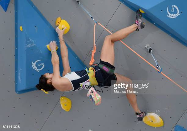 Jain Kim of South Korea competes during the Sport Climbing Lead Single Women's Qualification of The World Games at the New Market Square on July 23...