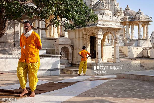 Jain priests in Palitana temples complex on Shatrunjaya hill Gujarat India