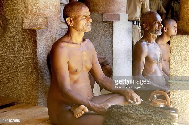 Jain Sadhus In Deep Meditation Praying To Lord Bahubali During Mastakabhishek Which Happens After Every 12 Years Shravanbelgola Karnataka India