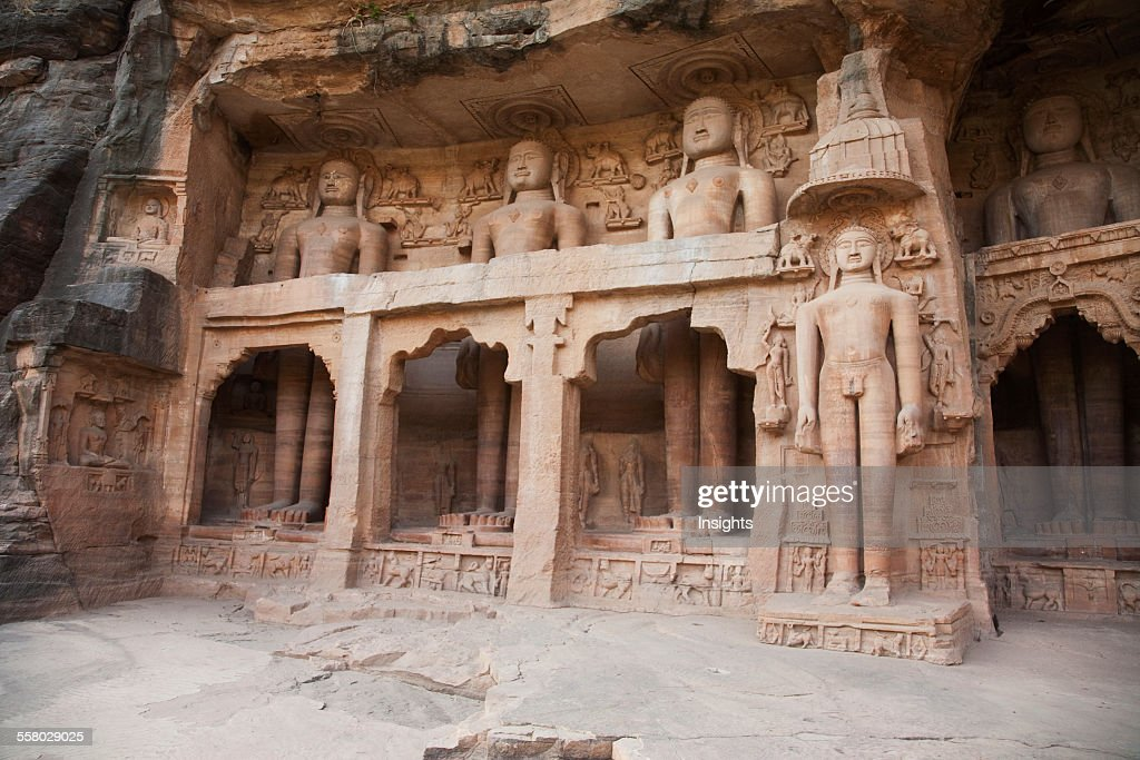 Jain Sculptures Carved In To The Cliff On The Southern Approach To The Fort, Gwalior, Madhya Pradesh, India : News Photo