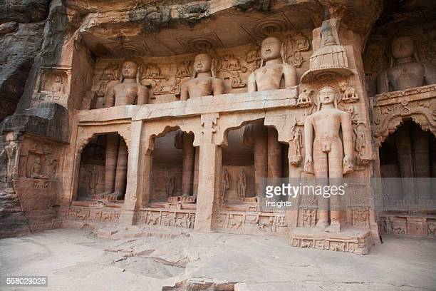 Jain Sculptures Carved In To The Cliff On The Southern Approach To The Fort Gwalior Madhya Pradesh India