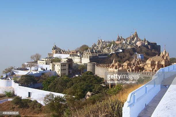 jain temples, mount shatrunjaya, gujarat - palitana stock photos and pictures