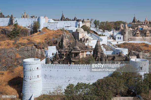 jain temples, mount shatrunjaya, palitana, gujarat, india - palitana stock photos and pictures
