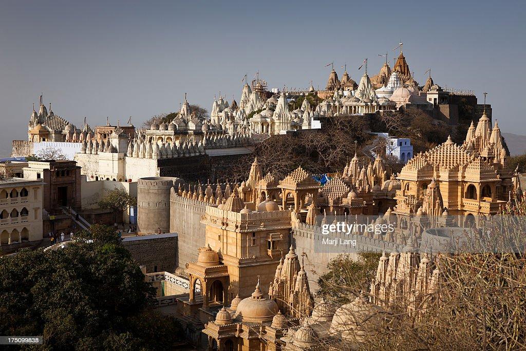 Jain temples of Mount Shatrunjaya in Palitana : Stock Photo