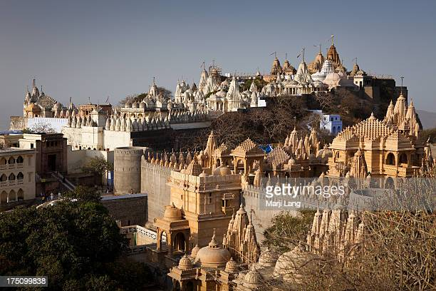 jain temples of mount shatrunjaya in palitana - palitana stock photos and pictures