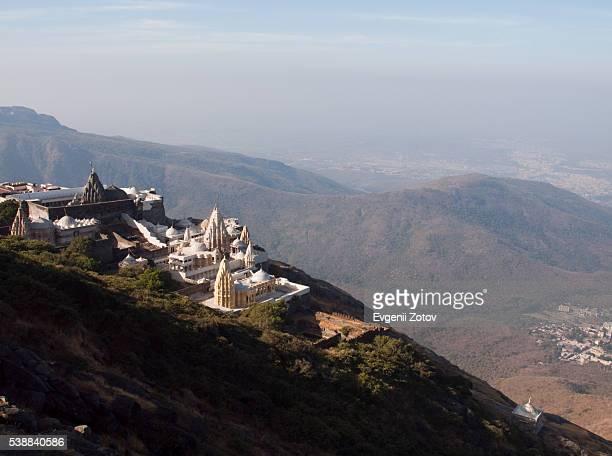 jain temples on mount girnar - jain stock photos and pictures