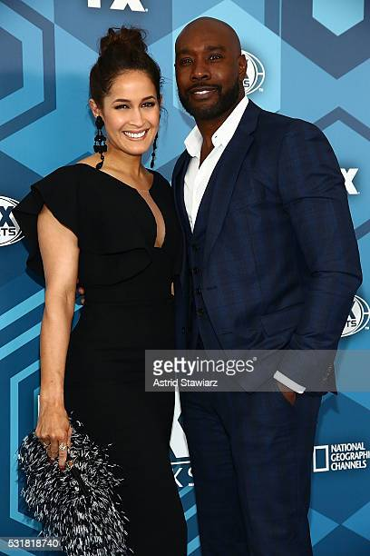 Jaina Lee Ortiz and Morris Chestnut attend FOX 2016 Upfront Arrivals at Wollman Rink Central Park on May 16 2016 in New York City