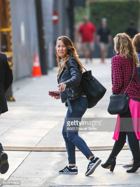 Jaina Lee Ortiz is seen arriving at 'Jimmy Kimmel Live' on April 05, 2018 in Los Angeles, California.