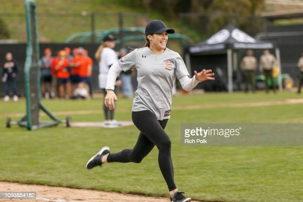 Jaina Lee Ortiz plays in a charity softball game to benefit California Strong at Pepperdine University on January 13 2019 in Malibu California