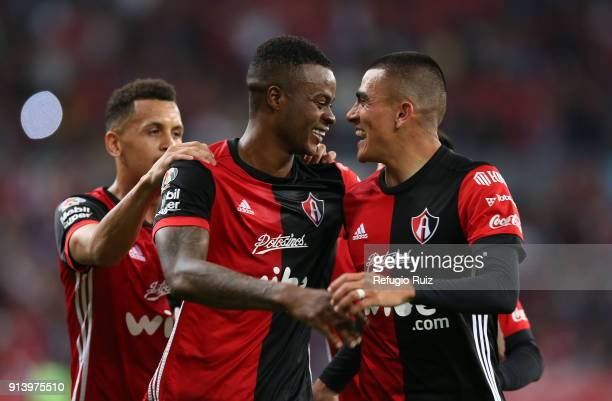 Jaine Barreiro of Atlas celebrates with teammates after scoring the winning goal during the 5th round match between Atlas and Cruz Azul as part of...