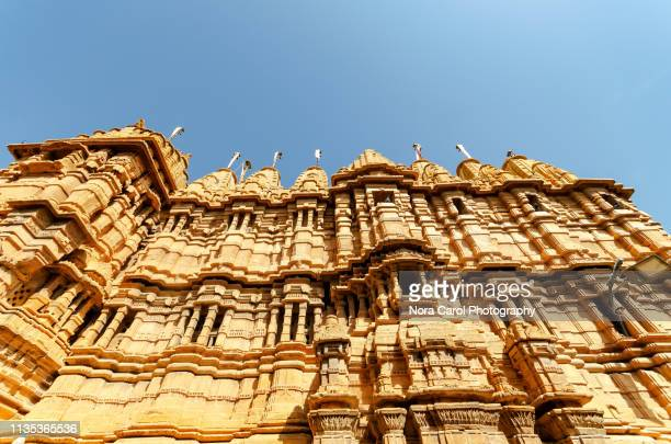 jainism temple in jaisalmer fort - jain temple stock photos and pictures