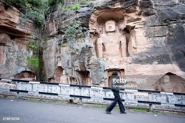 CONTENT] Jains sculptures around the Gwalior fortress in Madhya Pradesh India