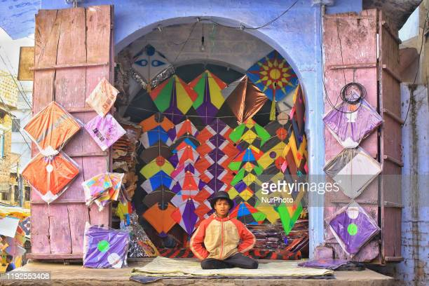 Colorful kites display at shops for sales ahead of the Makar Sakranti Festival at Handipura in Jaipur, Rajasthan,India Jan. 8, 2020.