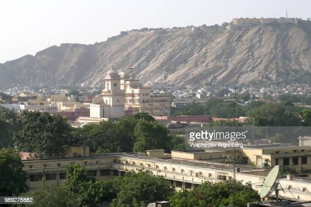 jaipur hills to the northwest of jaipur, india - argenberg imagens e fotografias de stock
