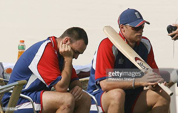 England cricket captain Andrew Flintoff and teammate Michael Yardy look on a team training session for the ICC Champions Trophy 2006 tournament at...