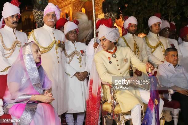 Jaipur Maharaja Padmanabh Singh and Rajmata Padmini Devi of Royal family participate in 'Holika Dehan' at City Palace on the occasion of Holi...