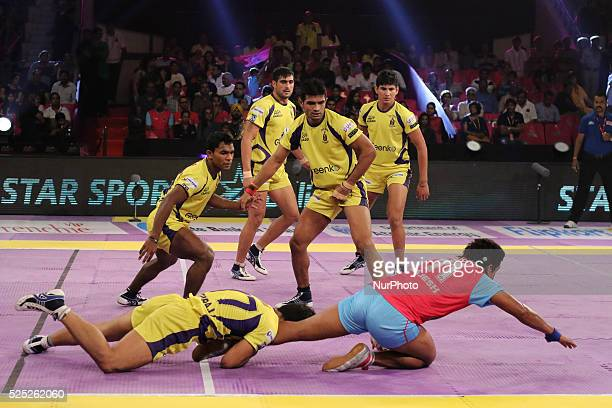 Jaipur Pink Panthers and Telgu Titans team players in action during the Pro Kabaddi league matches at Sawai Mansingh Indoor Stadium in Jaipur India...