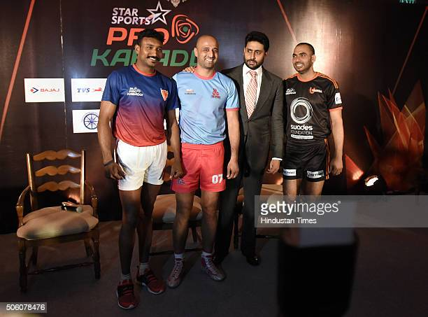 Anup kumar stock photos and pictures getty images jaipur pink panthers owner abhishek bachchan with u mumbai captain anup kumar jaipur pink panthers captain altavistaventures Gallery