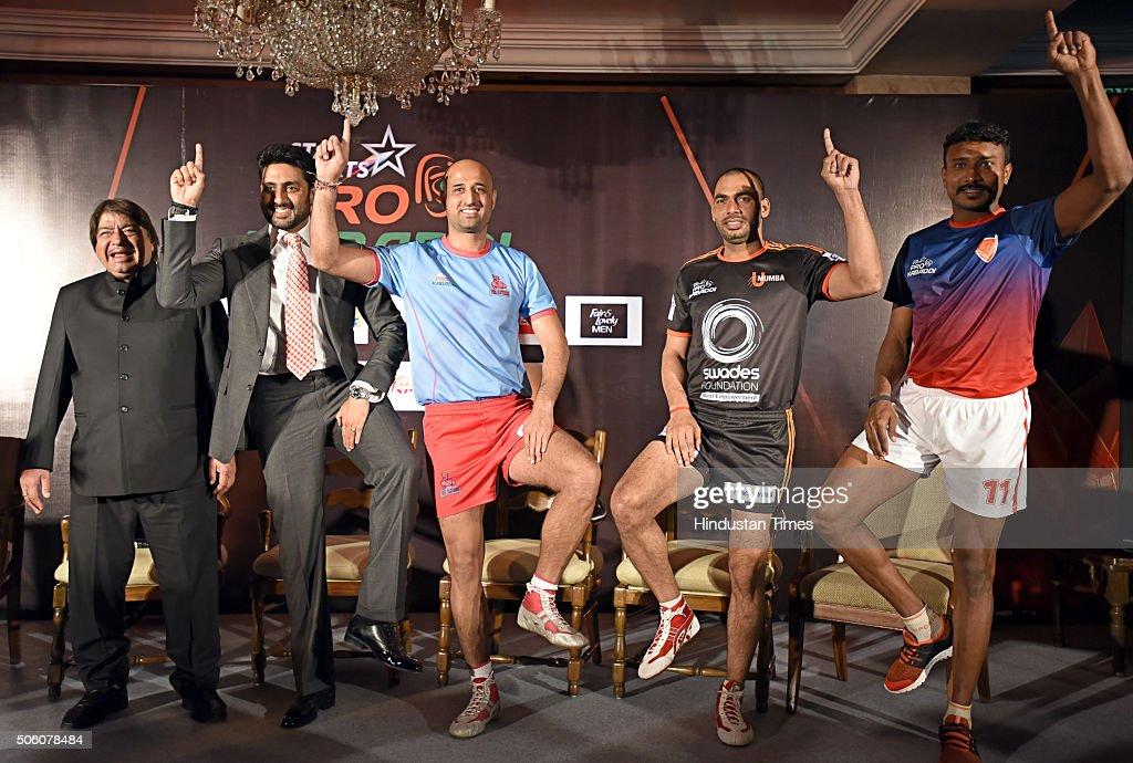 Press conference of star sports pro kabaddi season 3 photos and jaipur pink panthers owner abhishek bachchan with u mumbai captain anup kumar 2r altavistaventures Images