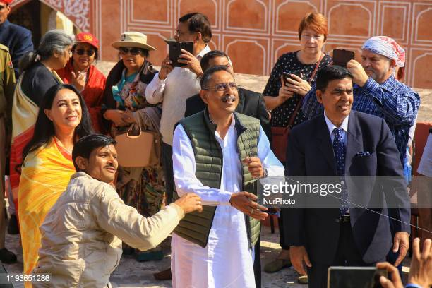Jaipur Princess & MP Diya Kumari with Congress leader & Tourism Minister Vishwendra Singh during the Kite Festival on the occasion of the...