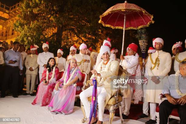 Jaipur Princess Diya Kumari Rajmata Padmini Devi and Maharaja of Royal family Padmanabh Singh participate in 'Holika Dehan' at City Palace on the...