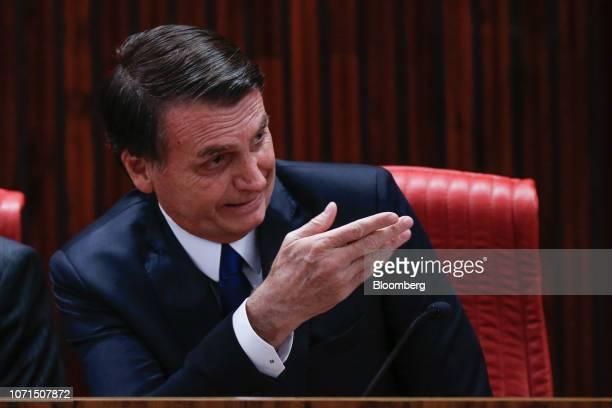 Jair Bolsonaro Brazil's presidentelect speaks during a ceremony confirming his election victory in Brasilia Brazil on Monday Dec 10 2018 Bolsonaro...